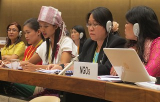 Myanmar's NGO delegation make their joint statement to the CEDAW Committee.