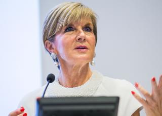 Julie Bishop at the 2017 Australasian Aid Conference. Photo: Stuart Hay/ANU
