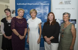 Hon Julie Bishop MP With Jo Crawford, Jo Hayter of IWDA and Dr Sharon Bessell, Dr Janet Hunt of ANU