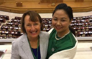 Judith Graley and Nan Moe at Parliament. Photo: Jen Clark
